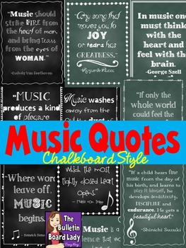 Music Quotes Posters Chalkboard Style