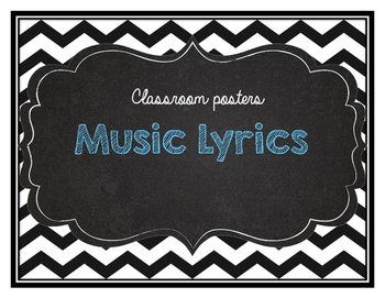 Music Quotes to live by classroom posters chevron
