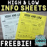 Music Reading Info Sheets: High/Low {FREEBIE!}