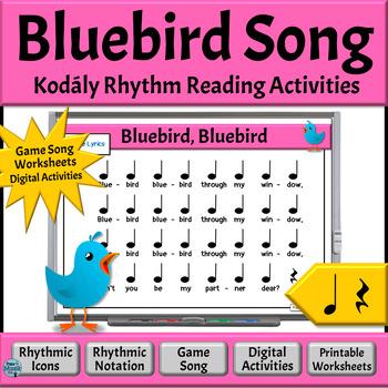 Music Reading Activity, Rhythm: Quarter Note/Rest – Bluebird, Bluebird