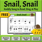FREE Music Reading Activities | Snail Song  - So, La, Mi