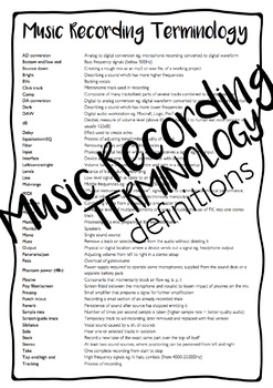 Music Recording Terminology