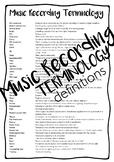 Music Recording Terminology