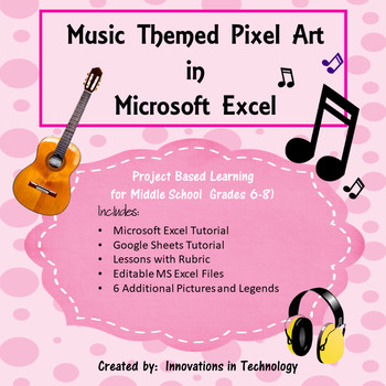Music Related Pixel Art in Microsoft Excel or Google Sheets