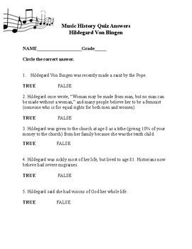 Hildegard Music History Quiz and Answers