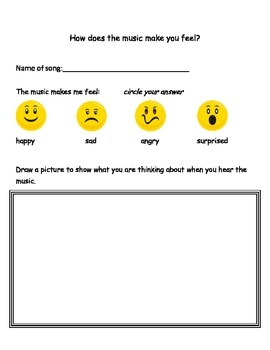 Music Response page for Primary students to show feelings