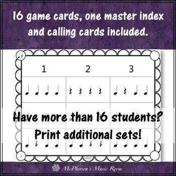 Quarter Note and Quarter Rest Rhythm Bingo Game
