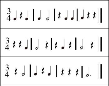 Music Rhythm Cards - 3/4 Rhythm Cards