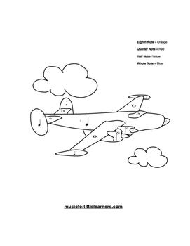 Music Rhythm Coloring Worksheet Airplane