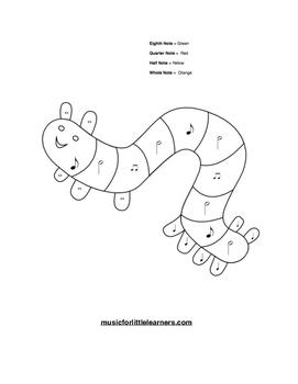 Music Rhythm Coloring Worksheet Caterpillar
