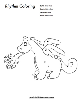 Music Rhythm Coloring Worksheet Dragon