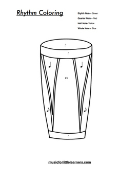 Music Rhythm Coloring Worksheet Drum