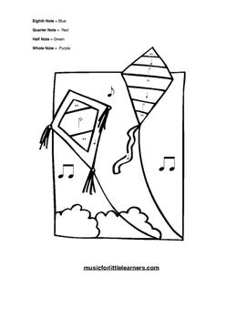 Music Rhythm Coloring Worksheet Kites