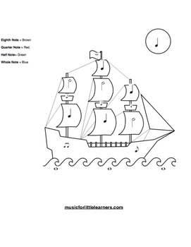 Music Rhythm Coloring Worksheet Ship