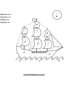 Music Rhythm Coloring Worksheet Ship