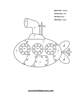 Music Rhythm Coloring Worksheet Submarine