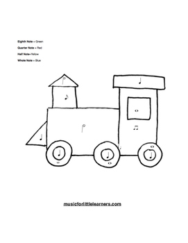 Music Rhythm Coloring Worksheet Train