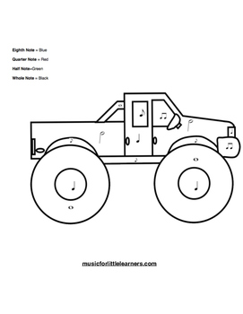 Music Rhythm Coloring Worksheet Truck