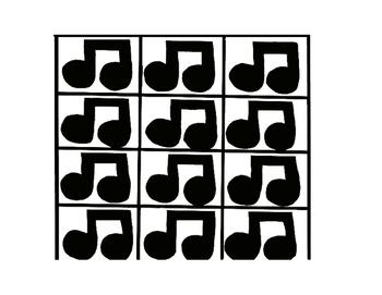Music Rhythm Fraction Bars in Black & White