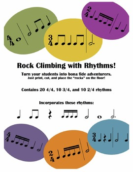 Music Rhythm Rock Climbing (Sixteenth, Eighth, Quarter, Half, Whole Notes)