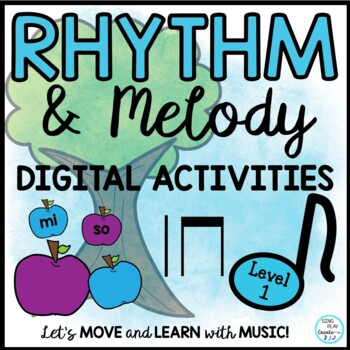 Music Rhythm and Melody Drag and Drop Digital Lesson and Activities LEVEL 1
