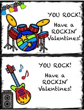 Music Rock Star Valentine Cards