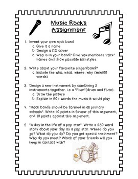 Literacy Project, Music Themed - Middle School Project