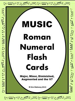 Music Roman Numeral Chord Flash Cards