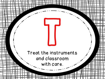 Music Room Behavior Clip Chart & Rules (Sports Theme Decor Set)