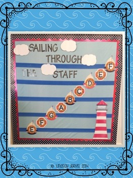 Music Room Bulletin Board: Sailing Through the Staff