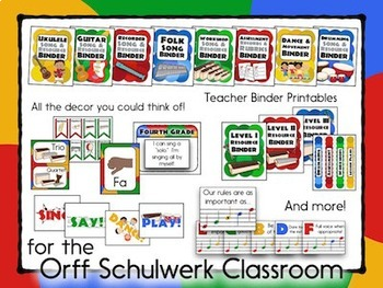 Music Room Decor Kit for the Orff Schulwerk Classroom - Explorer Color Scheme