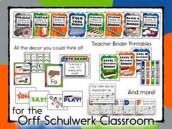 Music Room Decor Kit for the Orff Schulwerk Classroom - Heritage Color Scheme