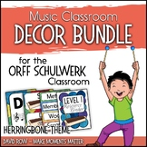Music Room Decor Kit for the Orff Schulwerk Classroom - Herringbone Theme