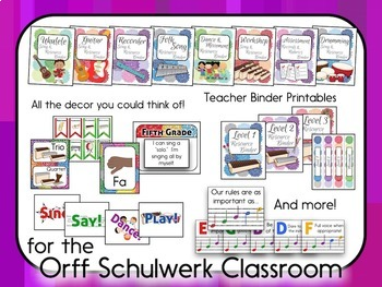 Music Room Decor Kit for the Orff Schulwerk Classroom - Peony Color Scheme