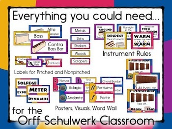Music Room Decor Kit for the Orff Schulwerk Classroom - Vintage Color Scheme