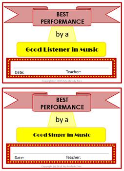 Music Room Certificates Broadway Theme
