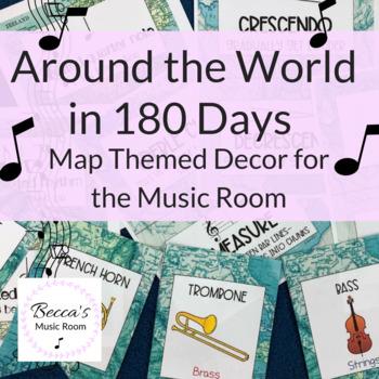 Music Room Decor: Around the World in 180 Days (Map theme decor/travel theme)