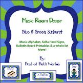 Music Room Decor; Blue and Green Sunburst