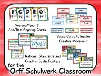 Music Room Decor Kit for the Orff Schulwerk Classroom - Brush Strokes Theme