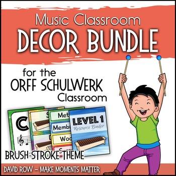 Music Room Decor Kit for the Orff Schulwerk Classroom - Brush Strokes Theme