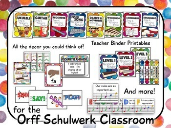 Music Room Decor Kit for the Orff Schulwerk Classroom - Confetti Theme