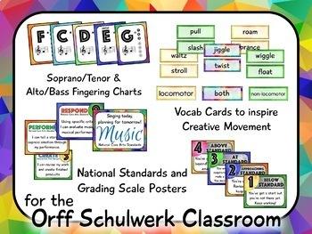 Music Room Decor Kit for the Orff Schulwerk Classroom - Geometric Theme
