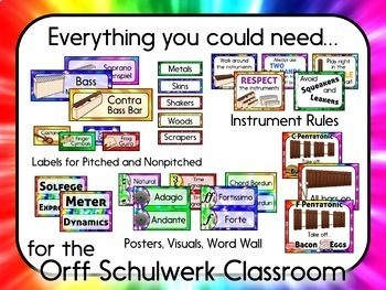 Music Room Decor Kit for the Orff Schulwerk Classroom - Tie Dye Theme