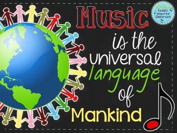 "Music Room Decor Kit: ""Music is the Universal Language of Mankind"""