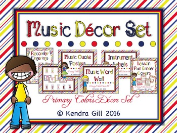 Music Room Decor Set - Primary Color Themed