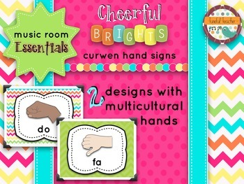 Music Room Essentials - Curwen/Kodaly Hand Signs in Cheerful Brights
