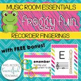 Music Room Essentials - Froggy Fun Recorder Fingering Posters (plus FREE bonus!)