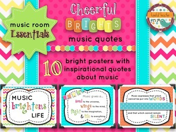 Music Room Essentials - Inspirational Music Quotes in Cheerful Brights