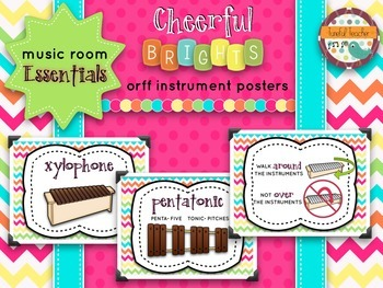 Music Room Essentials - Orff Instrument Posters in Cheerful Brights