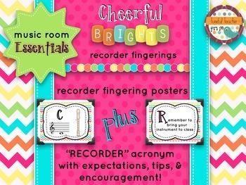 Music Room Essentials - Recorder Fingerings (plus bonus!) in Cheerful Brights